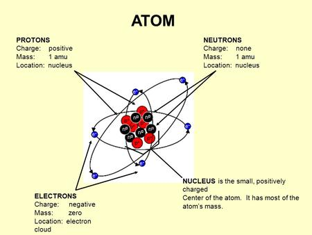 ATOM NEUTRONS Charge: none Mass: 1 amu Location: nucleus ELECTRONS Charge: negative Mass: zero Location: electron cloud PROTONS Charge: positive Mass: