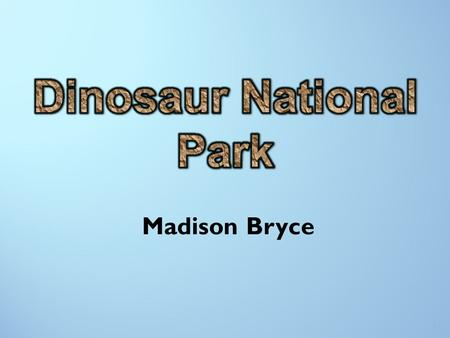 Madison Bryce 1. Dinosaur National Park Dinosaur National Park is a desert located within both Colorado and Utah. With its amazing wall full of the coolest.