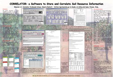 CORRELATOR: a Software to Store and Correlate Soil Resource Information CORRELATOR: a Software to Store and Correlate Soil Resource Information Edoardo.