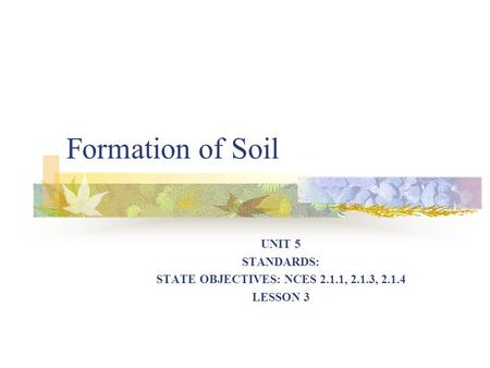 Formation of Soil UNIT 5 STANDARDS: STATE OBJECTIVES: NCES 2.1.1, 2.1.3, 2.1.4 LESSON 3.