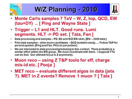 1 W/Z Planning - 2010 Monte Carlo samples 7 TeV – W, Z, top, QCD, EW (tau+DY).. [ Ping and Wayne State ] Trigger – L1 and HLT. Good runs. Lumi segments.