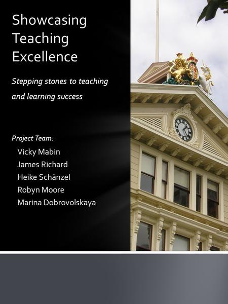 Stepping stones to teaching and learning success Project Team: Vicky Mabin James Richard Heike Schänzel Robyn Moore Marina Dobrovolskaya Showcasing Teaching.