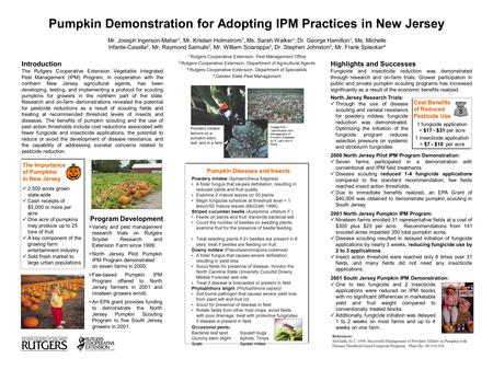 Pumpkin Diseases and Insects Powdery mildew (Sphaerotheca fuliginea) A foliar fungus that causes defoliation, resulting in reduced yields and fruit quality.
