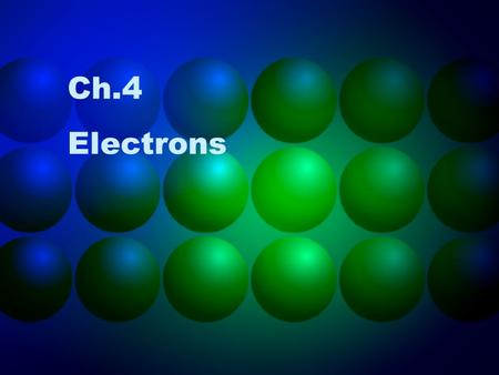 Ch.4 Electrons. Energy as Waves Light (one form of energy) travels through space in a wavelike behavior Other forms of energy also have wave characteristics.