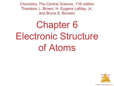 Electronic Structure of Atoms © 2009, Prentice-Hall, Inc. Chapter 6 Electronic Structure of Atoms Chemistry, The Central Science, 11th edition Theodore.