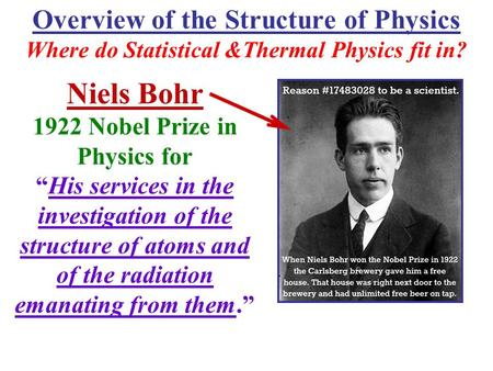 "Overview of the Structure of Physics Where do Statistical &Thermal Physics fit in? Niels Bohr 1922 Nobel Prize in Physics for ""His services in the investigation."