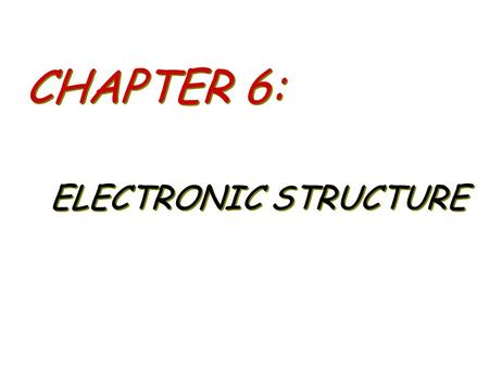 CHAPTER 6: ELECTRONIC STRUCTURE. – The Nature of Light – Quantized Energy/Photons –Photoelectric Effect – Bohr's Model of Hydrogen – Wave Behavior of.
