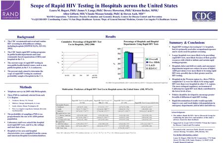 Background  The CDC recommends universal and routine HIV screening in all healthcare settings, including hospitals [MMWR 52(15), 329-332; 2003].  The.