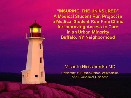 """INSURING THE UNINSURED"" A Medical Student Run Project in a Medical Student Run Free Clinic for Improving Access to Care in an Urban Minority Buffalo,"