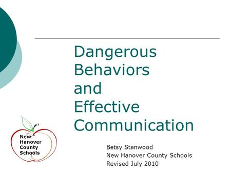 Dangerous Behaviors and Effective Communication New Hanover County Schools Betsy Stanwood New Hanover County Schools Revised July 2010.