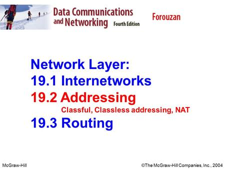 McGraw-Hill©The McGraw-Hill Companies, Inc., 2004 Network Layer: 19.1 Internetworks 19.2 Addressing Classful, Classless addressing, NAT 19.3 Routing.