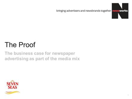 The Proof 1 The business case for newspaper advertising as part of the media mix.