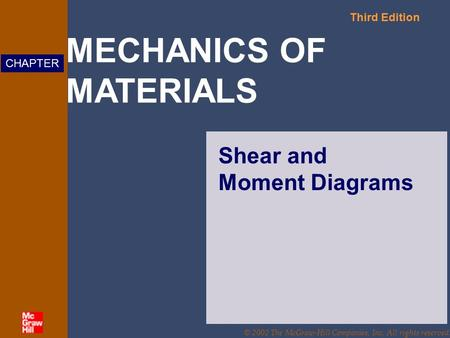MECHANICS OF MATERIALS Third Edition CHAPTER © 2002 The McGraw-Hill Companies, Inc. All rights reserved. Shear and Moment Diagrams.