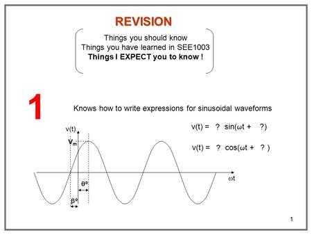 1 REVISION Things you should know Things you have learned in SEE1003 Things I EXPECT you to know ! 1 Knows how to write expressions for sinusoidal waveforms.