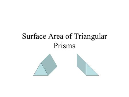 Surface Area of Triangular Prisms. A triangular prism has 5 faces. FRONT BACK RIGHT LEFT BOTTOM.
