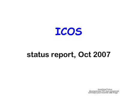 ICOS status report, Oct 2007. The current Carboeurope atmospheric network Stars = vertical profiles Blue circles = continuous observatories Yellow diamonds.