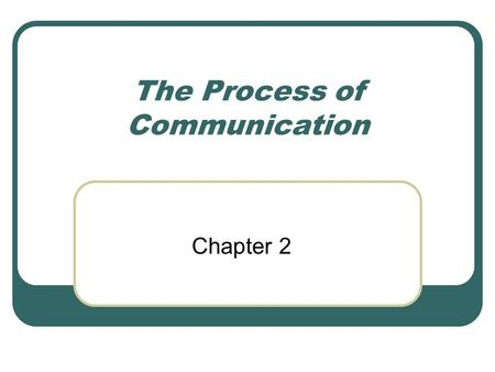 The Process of Communication Chapter 2. COMMUNICATION MODEL SENDER MESSAGE RECEIVER FEEDBACK.