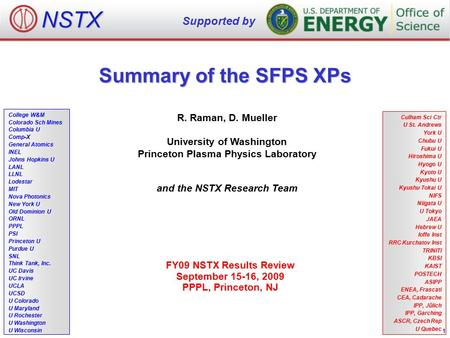 Summary of the SFPS XPs R. Raman, D. Mueller University of Washington Princeton Plasma Physics Laboratory and the NSTX Research Team FY09 NSTX Results.