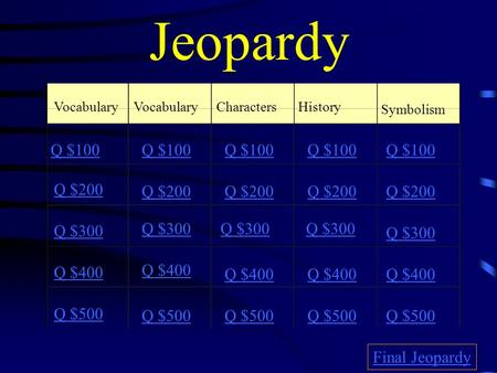 Jeopardy Vocabulary CharactersHistory Symbolism Q $100 Q $200 Q $300 Q $400 Q $500 Q $100 Q $200 Q $300 Q $400 Q $500 Final Jeopardy.