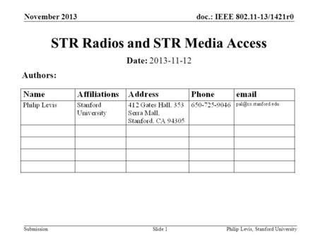 Doc.: IEEE 802.11-13/1421r0 Submission November 2013 Philip Levis, Stanford UniversitySlide 1 STR Radios and STR Media Access Date: 2013-11-12 Authors: