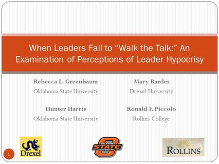 "Rebecca L. Greenbaum Oklahoma State University Hunter Harris Oklahoma State University When Leaders Fail to ""Walk the Talk:"" An Examination of Perceptions."