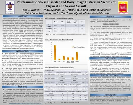 Posttraumatic Stress Disorder and Body Image Distress in Victims of Physical and Sexual Assault Terri L. Weaver 1, Ph.D., Michael G. Griffin 2, Ph.D. and.