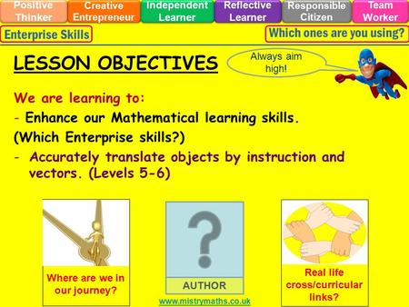 We are learning to: - Enhance our Mathematical learning skills. (Which Enterprise skills?) -Accurately translate objects by instruction and vectors. (Levels.