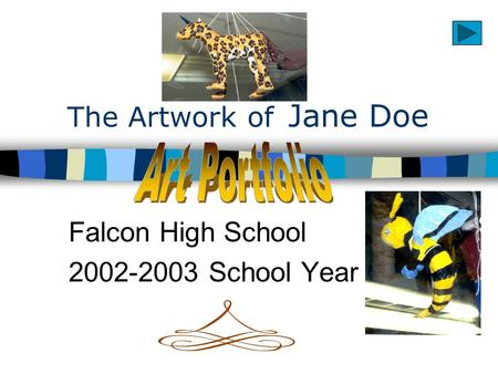 The Artwork of Jane Doe Falcon High School 2002-2003 School Year.