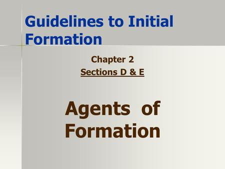 Guidelines to Initial Formation Chapter 2 Sections D & E Agents of Formation.