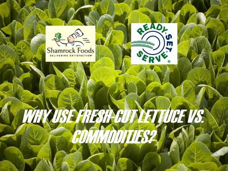 WHY USE FRESH-CUT LETTUCE VS. COMMODITIES?. #1 FOOD SAFETY Fresh Cut produce is cut and washed in a state of the art processing facility is designed around.
