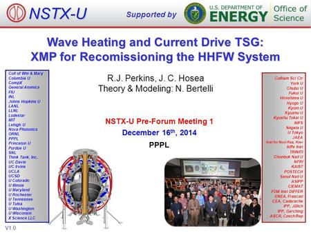 Wave Heating and Current Drive TSG: XMP for Recomissioning the HHFW System R.J. Perkins, J. C. Hosea Theory & Modeling: N. Bertelli NSTX-U Supported by.