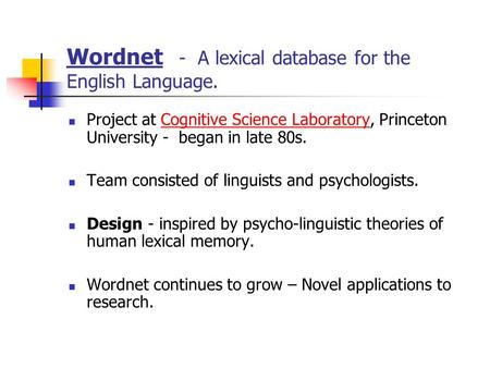 Wordnet - A lexical database for the English Language.