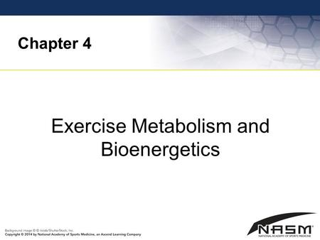 Chapter 4 Exercise Metabolism and Bioenergetics. Purpose To provide basic information on energy metabolism and bioenergetics that will be useful in helping.