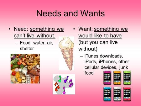Needs and Wants Need: something we can't live without. –Food, water, air, shelter Want: something we would like to have (but you can live without) –iTunes.
