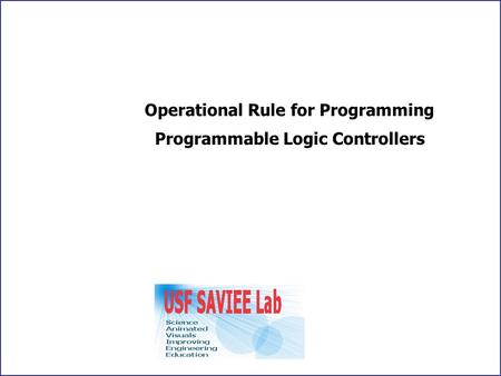Operational Rule for Programming Programmable Logic Controllers.