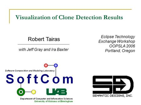 With Jeff Gray and Ira Baxter Robert Tairas Visualization of Clone Detection Results Eclipse Technology Exchange Workshop OOPSLA 2006 Portland, Oregon.