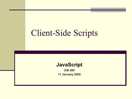 Client-Side Scripts JavaScript CIS 285 11 January 2005.