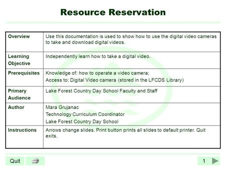 1Quit Resource Reservation OverviewUse this documentation is used to show how to use the digital video cameras to take and download digital videos. Learning.