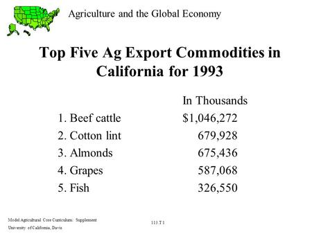 Agriculture and the Global Economy Model Agricultural Core Curriculum: Supplement University of California, Davis 113.T 1 Top Five Ag Export Commodities.