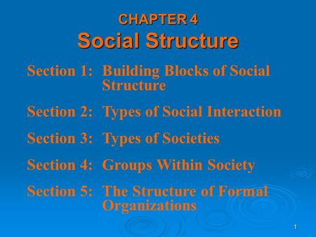 1 Section 1:Building Blocks of Social Structure Section 2:Types of Social Interaction Section 3:Types of Societies Section 4:Groups Within Society Section.