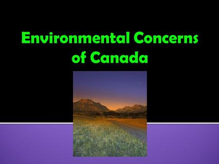  1. Acid Rain  2. Pollution of the Great Lakes  3. Extraction of Natural Resources on the Canadian Shield  4. Timber Industry in Canada.