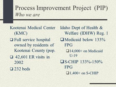 Process Improvement Project (PIP) Who we are Kootenai Medical Center (KMC)  Full service hospital owned by residents of Kootenai County (pop.  42,601.