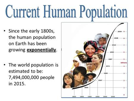 Since the early 1800s, the human population on Earth has been growing exponentially. The world population is estimated to be: 7,494,000,000 people in 2015.