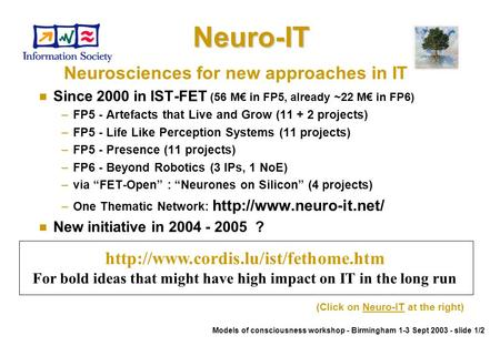 Neuro-ITNeuro-IT Neurosciences for new approaches in IT n Since 2000 in IST-FET (56 M€ in FP5, already ~22 M€ in FP6) –FP5 - Artefacts that Live and Grow.