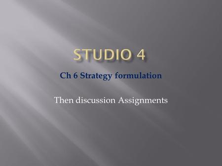 Ch 6 Strategy formulation Then discussion Assignments