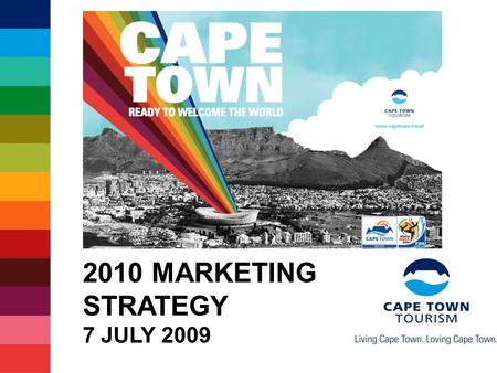 2010 MARKETING STRATEGY 7 JULY 2009. Some facts about 2010 Record 204 countries participating 350 000+ visitors expected in SA 4 out of 5 visitors indicate.