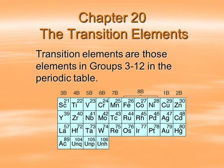 Chapter 20 The Transition Elements Transition elements are those elements in Groups 3-12 in the periodic table.