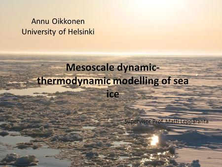 Annu Oikkonen University of Helsinki Mesoscale dynamic- thermodynamic modelling of sea ice Supervisor Prof. Matti Leppäranta.