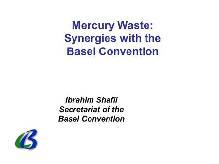Mercury Waste: Synergies with the Basel Convention Ibrahim Shafii Secretariat of the Basel Convention.
