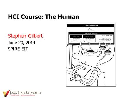 HCI Course: The Human Stephen Gilbert June 20, 2014 SPIRE-EIT.